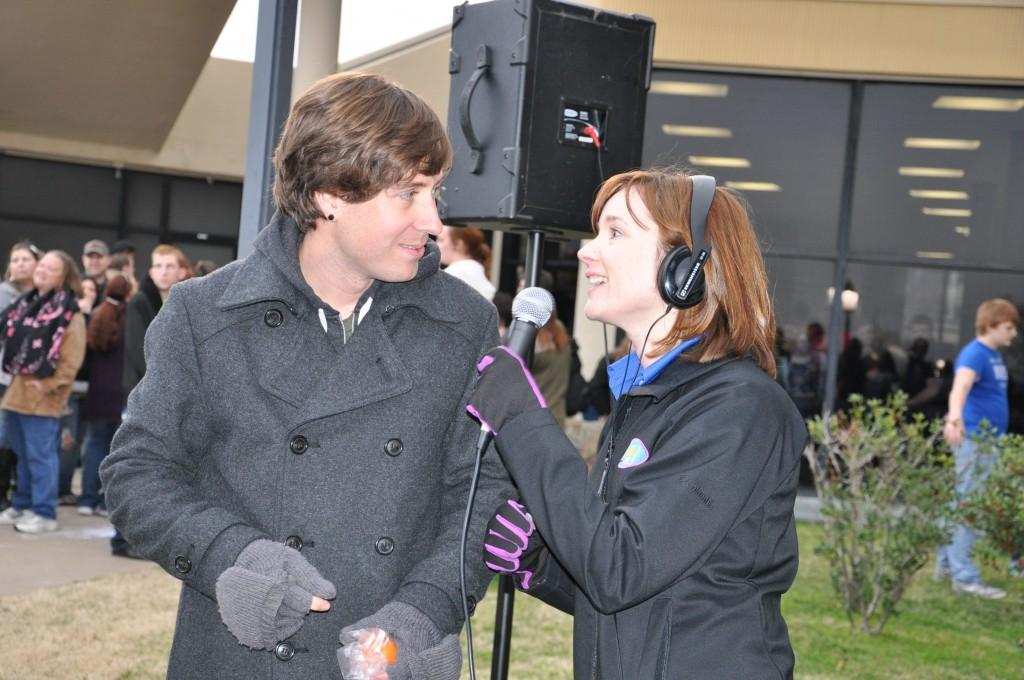 Caryn interviewing Daniel from Hawk Nelson