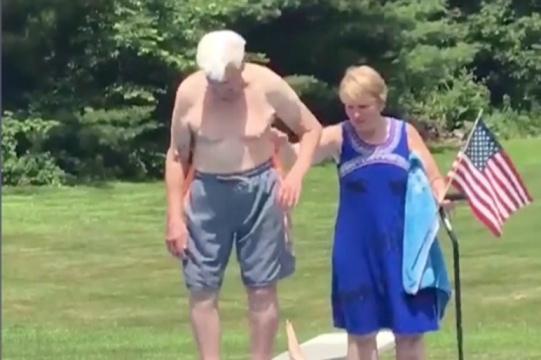 95 year old Air Force Veteran shows a little boy how to be brave!