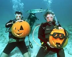 Under water pumpkin carving!
